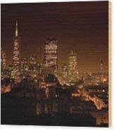 Downtown San Francisco At Night Wood Print