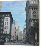 Downtown San Francisco Street Level Wood Print