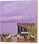Downtown Seattle As Seen From Alki Beach Wood Print