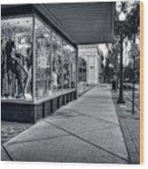 Downtown Sidewalk In Black And White Wood Print