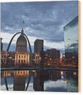 Downtown St. Louis At Dawn Wood Print