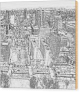 Downtown St. Louis Panorama Sketch Wood Print