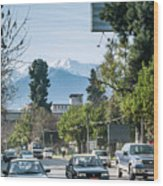 Downtown Street In Santiago De Chile City And Andes Mountains Wood Print