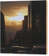 Downtown Sunset From Parking Lot Wood Print