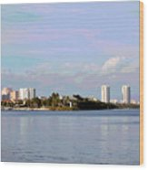 Downtown Tampa With Cruise Ship Wood Print