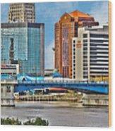 Downtown Toledo Riverfront Wood Print