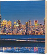 Downtown Vancouver From Spanish Banks Beach Wood Print