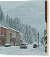 Downtown Wallace In Winter 2017 Wood Print