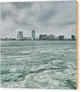 Downtown Windsor Canada City Skyline Across River In Spring Wint Wood Print