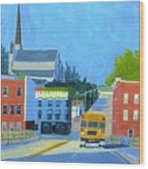 Downtown With School Bus     Wood Print