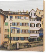 Downtown Zurich Switzerland Wood Print