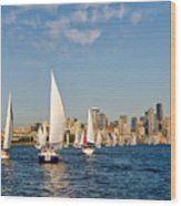 Downtwon Seattle Waterfront Wood Print