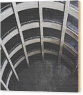 Downward Spiral - Looking Down Parking Garage Wood Print