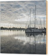 Downy Soft Clouds At The Marina Wood Print