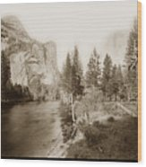 Domes And Royal Arches From Merced River Yosemite Valley Calif. Circa 1890 Wood Print