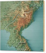 Dpr Korea 3d Render Topographic Map Border Wood Print