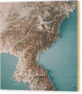 Dpr Korea 3d Render Topographic Map Neutral Border Wood Print