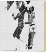 Dr. J And Kareem Wood Print