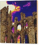 Dracula Abbey In Whitby England Wood Print by Jen White