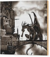Dragon And Castle Wood Print
