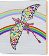 Dragon And Rainbow Wood Print