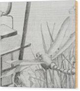 Dragon Fly And Lantern Wood Print