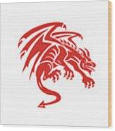 Dragon Gargoyle Crouching Silhouette Retro Wood Print