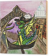 Dragon New Year Comes To Venice Wood Print