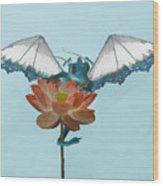 Dragon Peeks Around Flower Wood Print