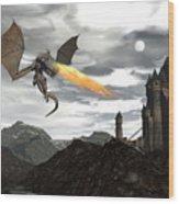 Dragon Scenery - 3d Render Wood Print