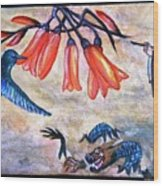 Dragon The Painting And Colibri Wood Print