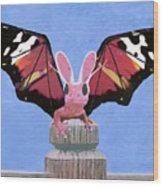 Dragon With Bunny Ears Wood Print