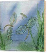 Dragonflies At Dusk Wood Print