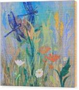 Dragonflies In Wild Garden Wood Print