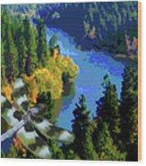Dragonflight Over The Spokane River Wood Print