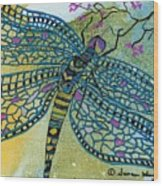 Dragonfly And Cherry Blossoms Wood Print