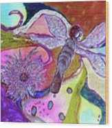Dragonfly And Mum Wood Print