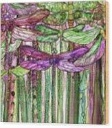 Dragonfly Bloomies 2 - Pink Wood Print