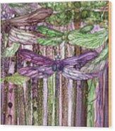 Dragonfly Bloomies 3 - Pink Wood Print