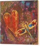 Dragonfly Heart Wood Print
