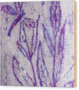Dragonfly In Lavender Wood Print