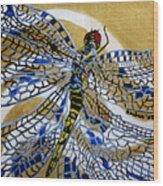 Dragonfly On Gold Scarf Wood Print