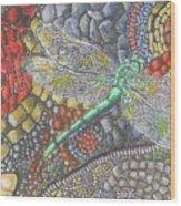 Dragonfly On Stone Path Wood Print