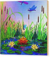 Dragonfly Pond Wood Print by Hanne Lore Koehler