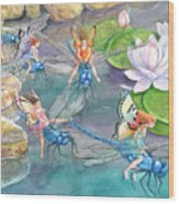 Dragonfly Races Wood Print