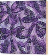 Dragons In Lavender Mosaic Wood Print