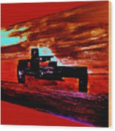 Dragster At The Strip Wood Print