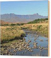 Drakensberg Amphitheatre Mountain Range In Kwazulu Natal, South Africa Wood Print