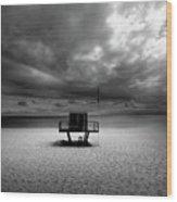 Dramatic Beach Wood Print by Marc Huebner
