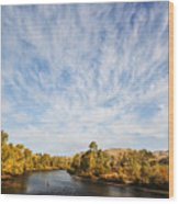 Dramatic Clouds Over Boise River In Boise Idaho Wood Print